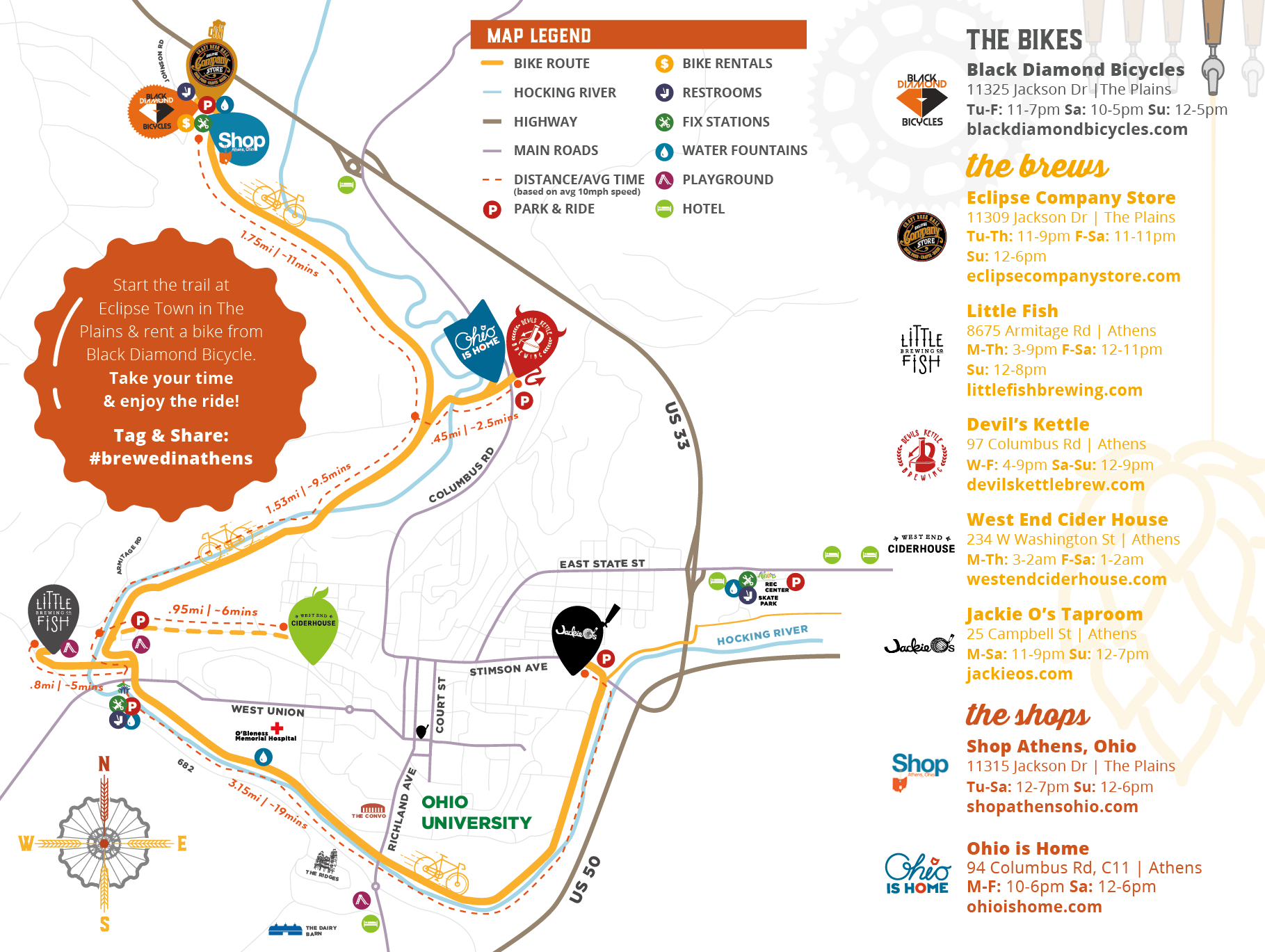 Bike and Brew Athens Map